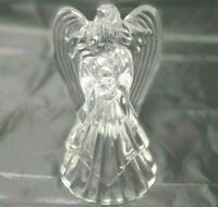 """Crystal Glass Angel  Candle Holder Clear Figurine 7"""" tall X 4 1/4"""" wide wings"""