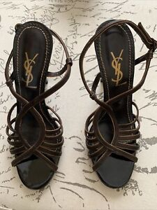 Vintage Yves Saint Laurent Shoes 36.5 Authentic Made In Italy 3.5 Inches Heels