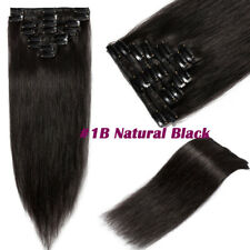 Silky Long 100% Real Remy Clip in Human Hair Extensions Full Head Any Color J030