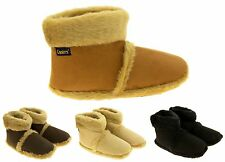 Mens 'Coolers'  Warm  Fur Lined Faux Suede Boot Slippers Sz Size 7-12