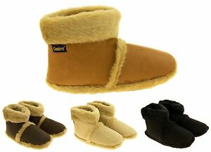 Mens Coolers Warm Fur Lined Faux Suede Winter Knit Boot Slippers UK Size 7-12