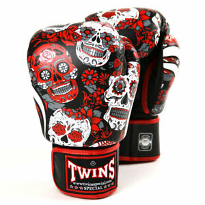 Twins FBGVL3-53 Red Skull Leather Boxing Gloves Muay Thai Kick Sparring Mitts