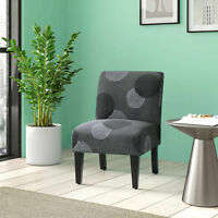 Upholstered Slipper Accent Armless Chair Bedroom Living Room, Charcoal Sunflower