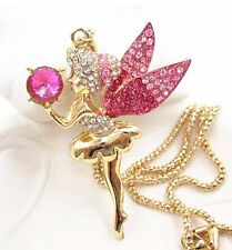 "Betsey Johnson Necklace Pretty ""Tink"" Tinker bell  Pink Crystals Gold"