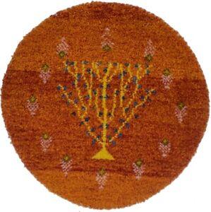 Tribal Style Small Round Rug 2X2 Rust Orange Handmade Oriental Home Decor Carpet