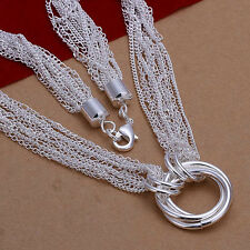 XMAS Wholesale sterling solid silver chic jewelry charm chain necklace N751+box