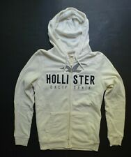 NEW Men's HOLLISTER White Full Zip Hoodie with Drawstrings Sz. M