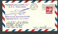 1974 cover Edwards AFB first flight Compass Cope YQM-94A signed Ray McPherson