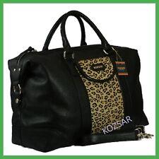 KOZSAR genuine leather with leopard print duffel travel bag / Carry bag - Scarf