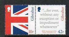 Gibilterra MNH 2013 trecentesimo ANV del Trattato di Utrecht Set di 2