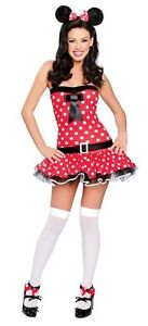 SALE Sexy Cute Womens Red Polka Dot Miss Mouse Cartoon 3 pc. Halloween Costume