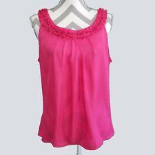Chadwicks Women's Sleeveless Pink Fuchsia Applique Tank Top 14 kfp1