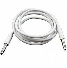Câble Audio Raccordement Jack 3.5 mm Mâle/mâle AUX blanc stéréo 1M adaptateur
