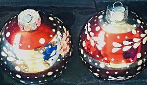 Radko Shiny Brite Vintage Celebration Red White Silver 2 Christmas Ornaments LN