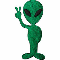 Alien UFO Peace Sign Embroidered Iron Sew On Patch Bag Shirt Jeans Jacket Badge