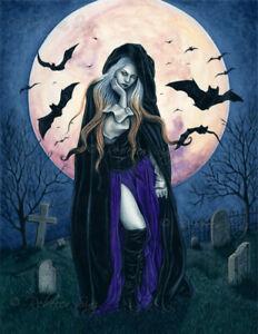 Gothic Fantasy PRINT HALLOWEEN Witch Bats Harvest Moon night cemetery
