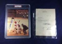 PETE ROSE SIGNED 8X10 #4,192 GEM MINT 10 AND LETTER! AUTHENTICATED BY PSA/DNA!
