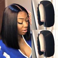 Medium Short Straight Bob Lace Front Wig Real Remy Peruvian Human Hair Wig Black