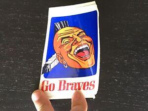 "1960'S BASEBALL ATLANTA ""GO"" BRAVES SOUVENIR 3X4.25"" VINYL STICKER M7 21819"