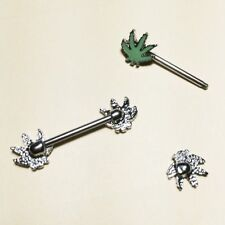 Piercing Nipple Ring Dangle Maple Leaf Body Jewelry Surgical Body Percing Nipple