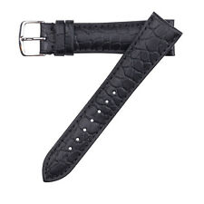 19mm Hadley-Roma Alligator Pebble Grain Leather Watch Band Strap Black MS838