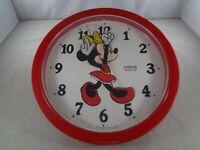 "Vintage Lorus Quartz 10.5"" Walt Disney Minnie Mouse Wall Clock Japan - Tested"