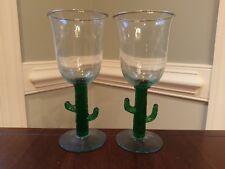 Margarita Wine Glasses Cactus Stem Green Saguaro Handmade in Mexico Handblown 2