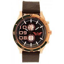 Uomo Rosa Oro & Nero Quadrante Marrone PU Pelle Cinturino Decorativo Small Watch