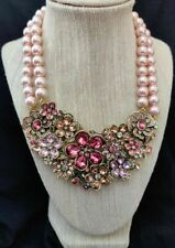 """Heidi Daus """"Flower Show"""" 2 Strand Beaded Crystal Drop Necklace PINK NWT"""