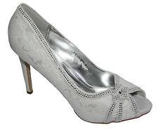 Zapatos de Novia Peep Toe Crema Blanca de Encaje Y Piedrecita 4YYZ-2316