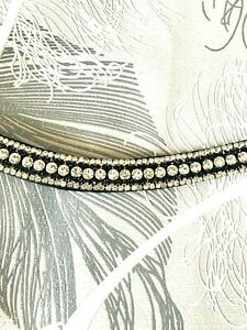 BLING DIAMANTÉ 5 ROW CLEAR CRYSTAL SPARKLY BROWBAND BLACK LEATHER pony cob full