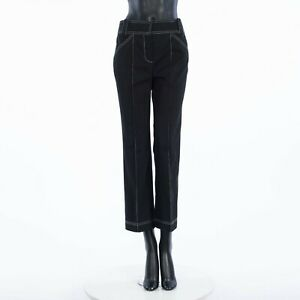 FENDI 845$ Pants In Black Cotton With Contrasting Stitch Detailing