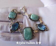 🌟 Beau Bracelet artisanal Plaqué argent 925 Larimar bleu Quartz..