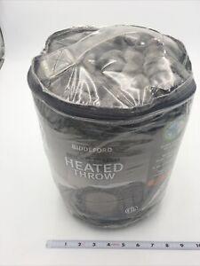 Biddeford Heated Microplush Throw Gray Brand New 6 Heat Settings Washable