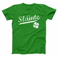 Slainte Irish Cheers  Clover Funny Gaelic Celtic Green Basic Men's T-Shirt