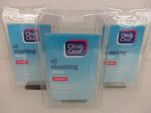 3 CLEAN & CLEAR OIL ABSORBING SHEETS PORTABLE 50 SHEETS PER PACK  JL 13060