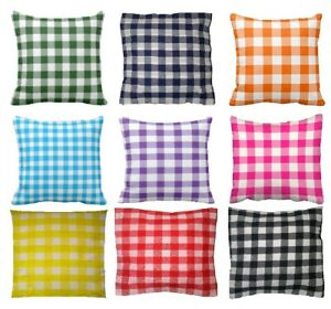 "Printed Gingham Cotton Cushion Cover  ** Available 10"" to 24"" sizes"