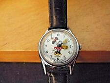 Vintage Walt Disney Production Minnie Mouse Character Watch Black Leather Band