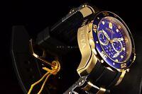 Invicta 48MM Pro Diver Scuba Gold Plated Chronograph Blue Dial Black Strap Watch