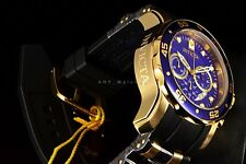 Invicta 48MM Pro Diver Scuba Gold Plated Chronograph Blue Dial Black Strap Watch