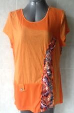 Orange Top with Coloured Floral Lace inserts, Cap Sleeves, Plus Size 18 NWOT
