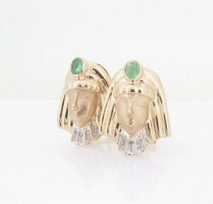 .A Pair of Tutankhamun 14K Yellow Gold Emerald & Diamond Earrings Val $3520