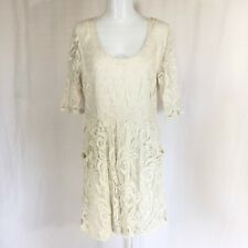 Grayson Dress A Line Lace Overlay Pockets Exposed Zipper Ivory Size XL