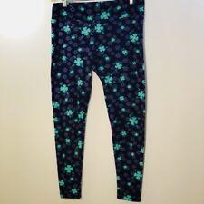 LuLaRoe Leggings TC Tall & Curvy Purple Green Floral Print Control Tummy B2