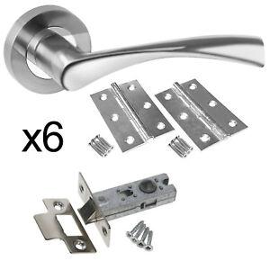 Astrid Chrome Internal Door Handle Packs - Latch Door Handle Packs 6 Latch Packs