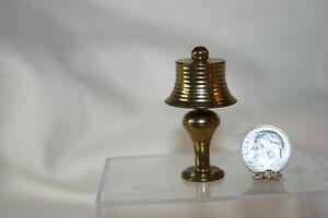 Miniature Dollhouse Vintage Brass Table Lamp w Removable Shade 1:12 NR