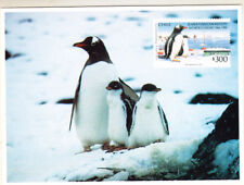 Chile 1994 Antarctica/Penguins postcard (with reprint stamps) unused (A1217D)
