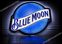 Rare New Blue Moon Larger Beer Bar Pub Super Thin LED Light Sign Fast Free Ship