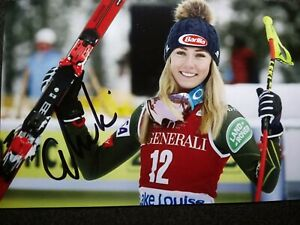 MIKAELA SHIFFRIN Authentic Hand Signed 4X6 Photo - OLYMPIC GOLD MEDAL SKIER