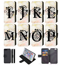 BLACK FLORAL INITIAL LETTER Personalised Wallet Flip Phone Case iPhone Galaxy